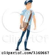 Clipart Of A Mail Man With A Bag Royalty Free Vector Illustration