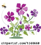 Clipart Of A Honey Bee And Flowers Royalty Free Vector Illustration