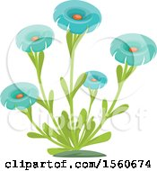 Clipart Of Blue Flowers Royalty Free Vector Illustration