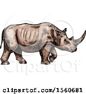 Clipart Of A Sketched Rhinoceros Walking Royalty Free Vector Illustration