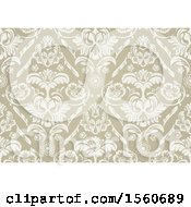 Clipart Of A Floral Damask Background Royalty Free Vector Illustration
