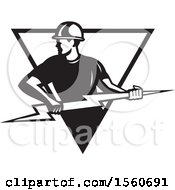 Clipart Of A Black And White Retro Male Electrician Pulling A Lightning Bolt In A Triangle Royalty Free Vector Illustration