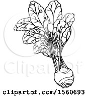 Clipart Of A Black And White Kohlrabi Royalty Free Vector Illustration