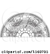 Clipart Of A Black And White Sri Lankan Moonstone With An Elephant Horse Lion And Bull Royalty Free Vector Illustration