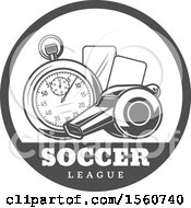 Clipart Of A Grayscale Soccer Design Royalty Free Vector Illustration by Vector Tradition SM