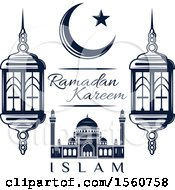 Clipart Of A Blue Ramadan Kareem Design Royalty Free Vector Illustration