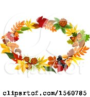 Clipart Of A Fall Time Frame With Autumn Leaves Royalty Free Vector Illustration