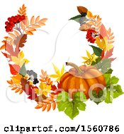 Clipart Of A Fall Time Frame With Autumn Leaves And A Pumpkin Royalty Free Vector Illustration