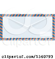 Clipart Of A Striped Air Mail Envelope Royalty Free Vector Illustration
