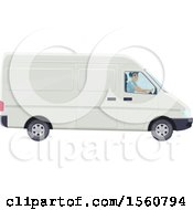 Clipart Of A Mail Man Driving A Van Royalty Free Vector Illustration by Vector Tradition SM