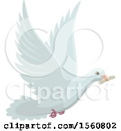Clipart Of A Messenger Dove Flying With A Note Royalty Free Vector Illustration by Vector Tradition SM