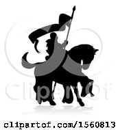 Clipart Of A Black Silhouetted Knight On A Horse With A Shadow On A White Background Royalty Free Vector Illustration