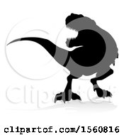 Clipart Of A Black Silhouetted Tyrannossaurus Rex Dinosaur With A Shadow On A White Background Royalty Free Vector Illustration