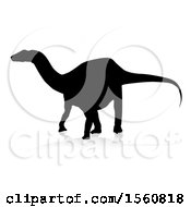 Black Silhouetted Dinosaur With A Shadow On A White Background