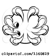 Clipart Of A Black And White Monster Claw Holding A Bowling Ball Royalty Free Vector Illustration
