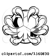 Clipart Of A Black And White Monster Claw Holding A Soccer Ball Royalty Free Vector Illustration