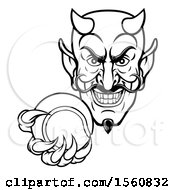 Clipart Of A Black And White Grinning Evil Devil Holding Out A Tennis Ball In A Clawed Hand Royalty Free Vector Illustration by AtStockIllustration