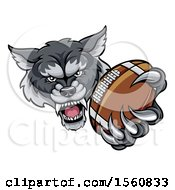 Clipart Of A Tough Wolf Monster Mascot Holding Out A Football In One Clawed Paw Royalty Free Vector Illustration