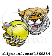 Clipart Of A Tough Lynx Monster Mascot Holding Out A Tennis Ball In One Clawed Paw Royalty Free Vector Illustration by AtStockIllustration