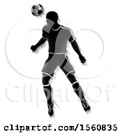 Clipart Of A Motion Blurred Black Silhouetted Male Soccer Player Heading A Ball Royalty Free Vector Illustration