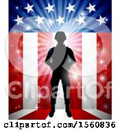 Clipart Of A Silhouetted Full Length Male Military Veteran Over An American Themed Flag And Bursts Royalty Free Vector Illustration by AtStockIllustration