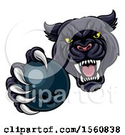 Clipart Of A Tough Black Panther Monster Mascot Holding Out A Bowling Ball In One Clawed Paw Royalty Free Vector Illustration by AtStockIllustration