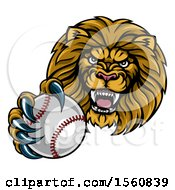 Poster, Art Print Of Tough Lion Monster Mascot Holding Out A Baseball In One Clawed Paw