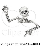 Clipart Of A Cartoon Skeleton Waving And Pointing Down Over A Sign Royalty Free Vector Illustration