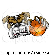 Clipart Of A Tough Bulldog Monster Mascot Holding Out A Basketball In One Clawed Paw Royalty Free Vector Illustration