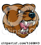 Clipart Of A Mad Grizzly Bear Mascot Head Royalty Free Vector Illustration by AtStockIllustration