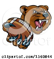 Clipart Of A Mad Grizzly Bear Mascot Holding Out A Football In A Clawed Paw Royalty Free Vector Illustration by AtStockIllustration