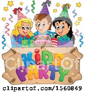 Clipart Of A Group Of Children Celebrating At A Birthday Party Royalty Free Vector Illustration