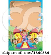 Parchment Border With A Group Of Children Playing On A Bouncy House Castle In A Yard