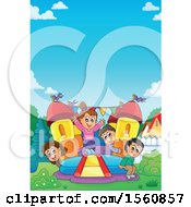 Clipart Of A Group Of Children Playing On A Bouncy House Castle In A Yard Royalty Free Vector Illustration by visekart