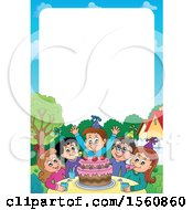 Clipart Of A Border Of A Group Of Children Celebrating At A Birthday Party Royalty Free Vector Illustration