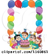 Clipart Of A Border Of A Group Of Children Celebrating At A Birthday Party Royalty Free Vector Illustration by visekart