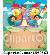 Clipart Of A Parchment Border With A Group Of Children Playing On A Bouncy House Castle In A Yard Royalty Free Vector Illustration by visekart