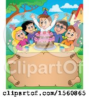 Clipart Of A Scroll Border Of A Group Of Children Celebrating At A Birthday Party Royalty Free Vector Illustration