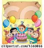 Scroll Border Of A Group Of Children Celebrating At A Birthday Party