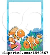 Clipart Of A Border With A Clownfish Pair Royalty Free Vector Illustration