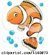 Clipart Of A Clownfish With Bubbles Royalty Free Vector Illustration