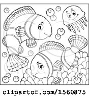 Lineart Jellyfish And Clownfish