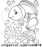 Lineart Clownfish With Bubbles