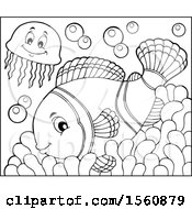 Lineart Jellyfish And Clownfish On An Anemone