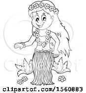 Clipart Of A Lineart Hawaiian Hula Dancer Royalty Free Vector Illustration