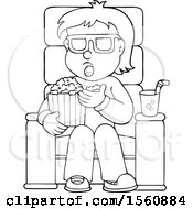 Lineart Man Or Boy Eating Popcorn At The Movies