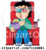 Man Or Boy Eating Popcorn At The Movies