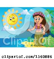 Clipart Of A Hawaiian Hula Dancer On A Beach Royalty Free Vector Illustration by visekart