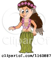 Clipart Of A Hawaiian Hula Dancer Royalty Free Vector Illustration