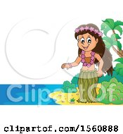 Clipart Of A Hawaiian Hula Dancer On A Beach Royalty Free Vector Illustration